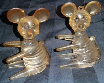 Pair of plastic mice made in Hong Kong