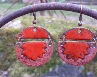 Earrings - orange Sun half sphere - enamels on copper