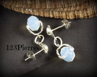 Short earrings Opal Crystal and silver leaf - a jewel by MP Bertrand 123Pierres details