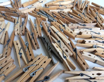 vintage wood spring clothespins lot of 36 wooden clothes pins rustic wood craft wedding shower table number holder sign holder spring style