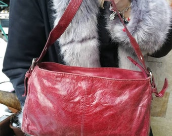 Leather Bag Vintage Vintage Leather Bag, Handbag, Woman's Purse, RED Leather Bag, Genuine Leather Bag, Small Bag.