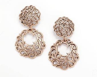 Rose Gold Filigree Hoop Earring