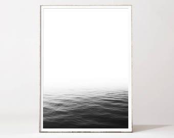 Ocean print, ocean wall art, minimalist wall art, black and white art, minimalist print, nordic design, modern art, landscape, photography