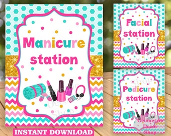 INSTANT DOWNLOAD / Spa / Sleepover / Sleep over / Manicure / Pedicure / Facial / Sign / Party / Pink / teal / gold / birthday / table /WSpa2