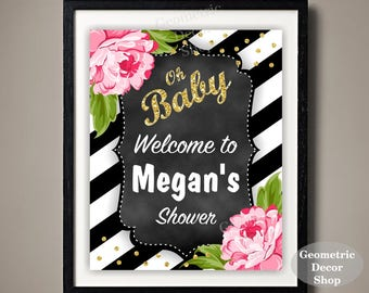 Baby / shower / Flower / Floral / Pink / Gold / Welcome / Sign / Party / sparkle / birthday / table / gift / sign / bridal / chalkboard /WF1