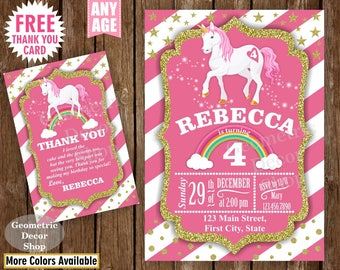 Unicorn Birthday Invitation , Pink Invitations , Girl Invite , Pink Invites , Magical Day , Rainbow , Birthday Photo , Gold Glitter BDU13/16