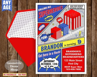 Superhero / Birthday / Invitation / Party / Invite / Superheroes / Boy / Blue / Red / Yellow / Black / BDSH6