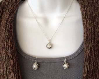 Pearl and Rhinestone necklace with matching earrings set