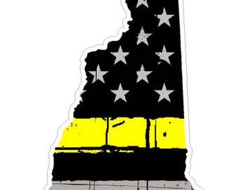 New Hampshire State (E30) Thin Yellow Line Dispatch Vinyl Decal Sticker Car/Truck Laptop/Netbook Window