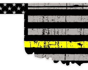 Oklahoma State (E37) Thin Yellow Line Dispatch Vinyl Decal Sticker Car/Truck Laptop/Netbook Window