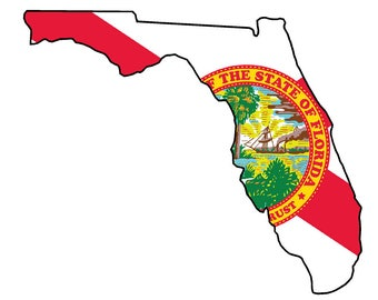 Florida State (Q1) Flag Vinyl Decal Sticker Car/Truck Laptop/Netbook Window