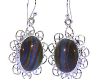 Rainbow Calsilica Earrings, 925 Sterling Silver, Unique only 1 piece available! color multicolour, weight 6.2g, #37403