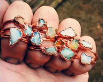 Raw opal ring - Opal ring - Fire opal ring - Rough opal ring - Australian opal ring - Copper opal ring - Electroformed ring - raw stone ring
