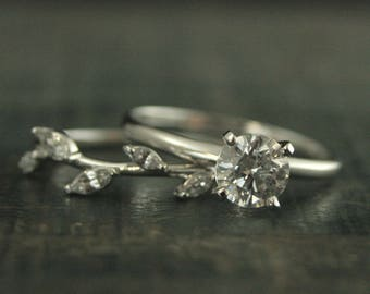 White Gold Bridal Set~White Gold Engagement Ring~Castle Vine Band~4 Prong Solitaire Ring~Solitaire Engagement Ring~Vine Ring~Leaf Ring