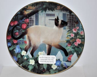 Madam Butterfly Plate by Susan Leigh, Siamese Cats, American Artists, Collectible Plates, Artist Plates, Limited Edition 1988 Cat Plate
