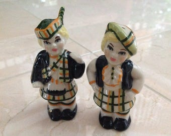 Vintage Ceramic Arts Studio Scottish Boy and Girl Salt Pepper Shakers Tartan Kilts