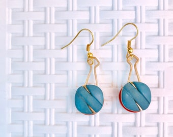 Vintage button Roop Earring -blue
