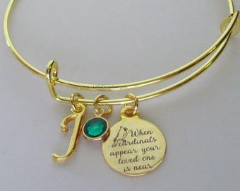 """GOLD"""" When Cardinals Appear Your Love One Is Near """"W/ Birthstone  / INITIAL - Missing A Love One - Gift Personalize  Gift For Her Usa G1"""