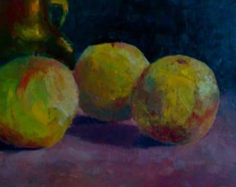 Green Apples fruits still life oil painting
