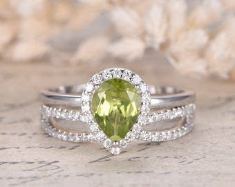 13ct vs natural peridot engagement ring set solid 14k white gold peridot ring august birthstone - Peridot Wedding Rings
