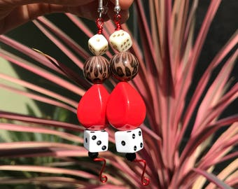 Dangle Earrings // Red Metalwork and Beaded Earrings // Dice and Leopard Earrings // Lucky 7 Earrings // Las Vegas Gambling Earrings