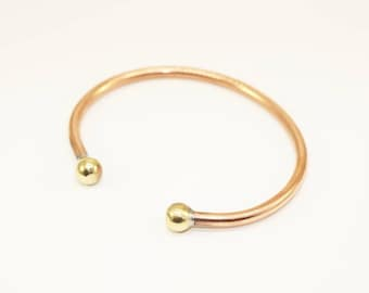 3 Pcs Antique Copper 65mm Bracelet Bangle - Customizable Copper Cuff - Adjustable size expands to fit wrist, fits small to medium wrist