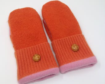 Wool Mittens fleece lined made from recycled sweaters