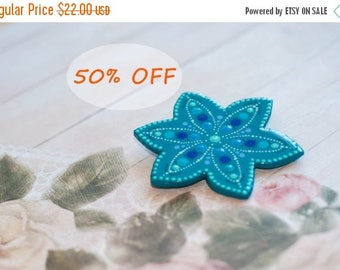 Turquoise brooch, Blue brooch, Turquoise flower brooch, Hand-painted brooch, Big brooch, Big flower brooch, Plain brooch, Flower brooche
