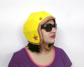 Papercraft,Helmet,Vintage Helmet, Motorcycle Helmet,motorbike helmet,Printable helmet,Paper helmet,Fancy costume,Origami,DIY Kits,Party hat