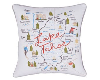 Pillow Lake Tahoe Embroidered,Christmas present,Housewarming,Wedding,Engagement,Gift for Long distance,Boys,Girls,Graduation,Teen,Kids