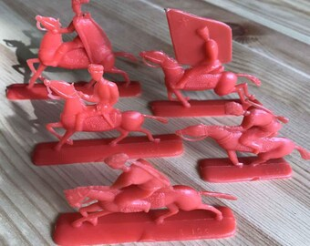 5 vintage USSR toy horsemans in Red Army style. 1970s.