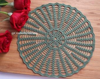 Green Crochet Doily, Round crochet doily, Handmade doily, crochet lace doily, Crochet table decoration, Crochet item, easter doily