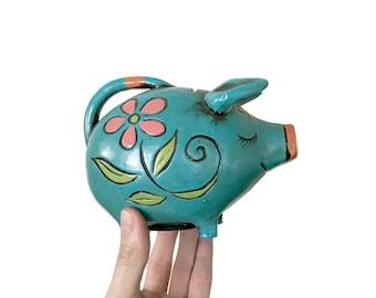 Vintage Plaster Piggy Bank  •  1960s Mod Pig Bank