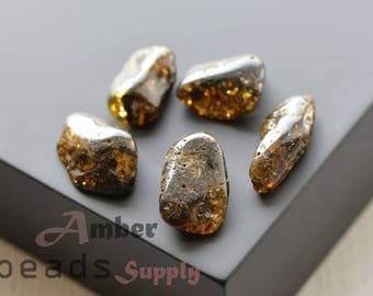5 units Amber stones, Natural amber, Baltic amber pieces, Green amber, Amber stones. 0446/4
