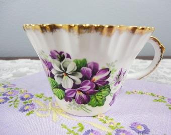 Salisbury 'Devonshire Violets' Purple Floral English Bone China Orphan Teacup