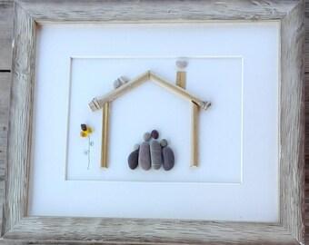 Pebble art Family4, Family4 gift, Family gift, housewarming family, stone pictures, anniversary family, Family portrait