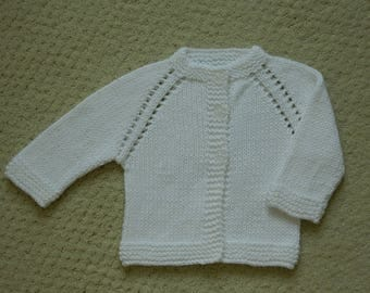 Hand Knit Baby Sweater / 0 - 3 months / White Baby Sweater / Hand Knit Cardigan / Baby Shower Gift / Baby Clothing