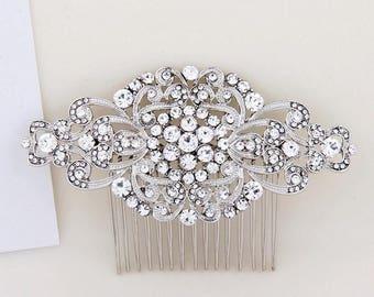 Silver Bridal Hair Combs, Wedding Hair Comb, Art Deco Bridal Headpiece, Wedding Hair Accessories, Bridal Hair Piece, Bridesmaid Gift