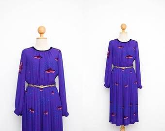 Vintage 70s Dress   Japanese Vintage Dress   Chiffon Violet Blue Dress   Fish + Bubbles   Long Sleeve   Party Dress   Dinner Dress   Pleated