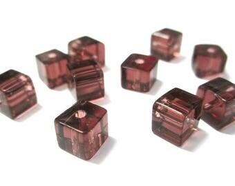 10 purple glass 6x6mm square beads