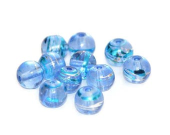 10 translucent blue, silver and blue glass beads 8mm