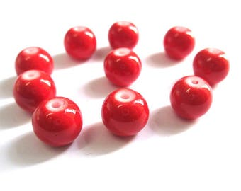 10 red glass beads painted 10mm (T)