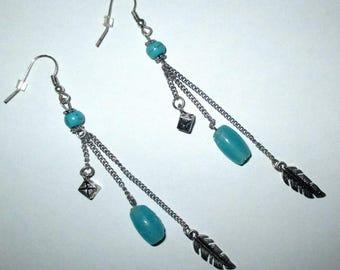 Earrings blue and silver ღ ღ