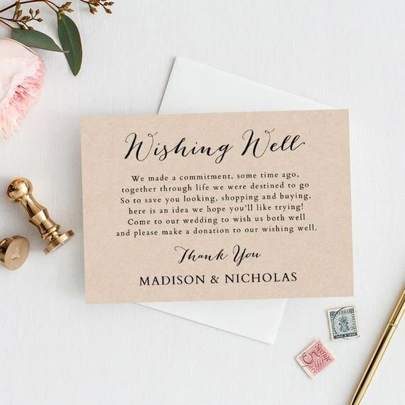 Wishing Well Card Template Printable Rustic Wedding Invitation Enclosures