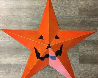 """24"""" Jack O' Lantern Pumpkin Barn Star"""