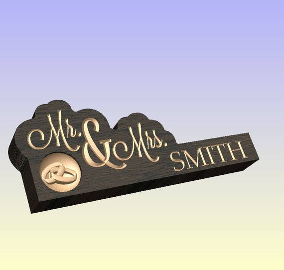 Personalized Mr & Mrs Tabletop Shelve Plaque with 3D Carved Rings