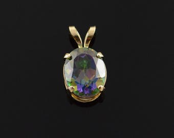 10k 2.50 CT Topaz Oval Solitaire Pendant Gold