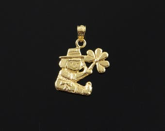 14k Raggedy Anne Doll Holding Clover Charm/Pendant Gold