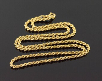 9k 2.5mm Twist Link Rope Chain Necklace Gold 20""