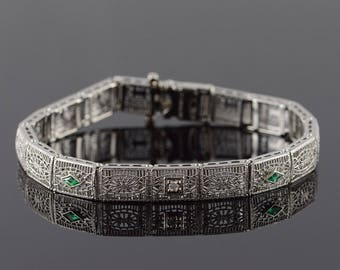 "Platinum/14k 0.25 CTW Diamond Emerald* Filigree Bracelet Gold 7.3"""